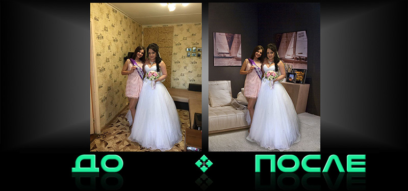 Фотошоп совместит две фотографии в онлайн редакторе